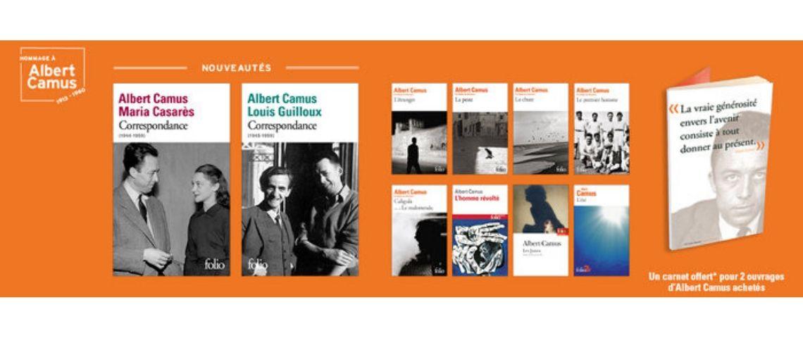 Capture d'écrtan des couvertures de livres d'Albert Camus