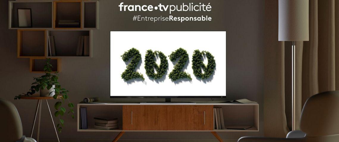 Logo France TVpublicité avec l'année 2020 en verdure
