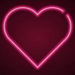 Coeur rose en néon