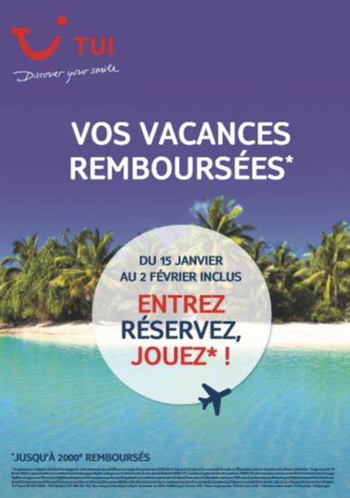 Capture d'écran d'affiche pour gagner des voyages de TUI