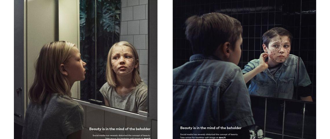 2 jeunes enfants devant un miroir avec leur image qui comporte des traits de chirurgie esthétique