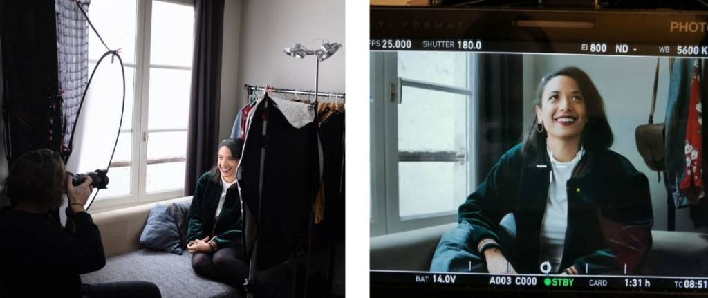 photo du tournage de la vidéo chez une des utilisatrice du site vinted