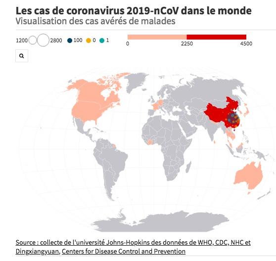 Carte de Franceinfo sur les zones touchées par le Coronavirus