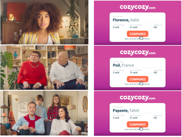 Capture d'écran des 3 vidéos de la campagne cozycozy.com