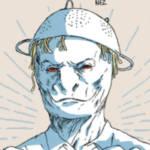 un dessin d'homme lézard avec une passoir sur la tête.