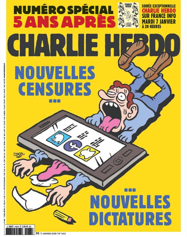 Couverture de Charlie Hebdo sur les nouvelles censures