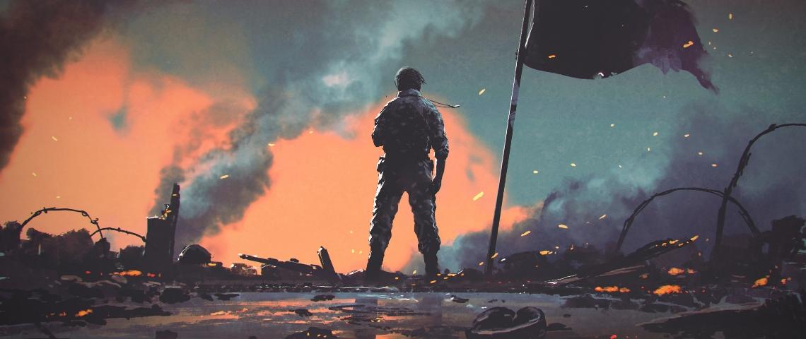 un soldat vu de dos sur un champ de bataille