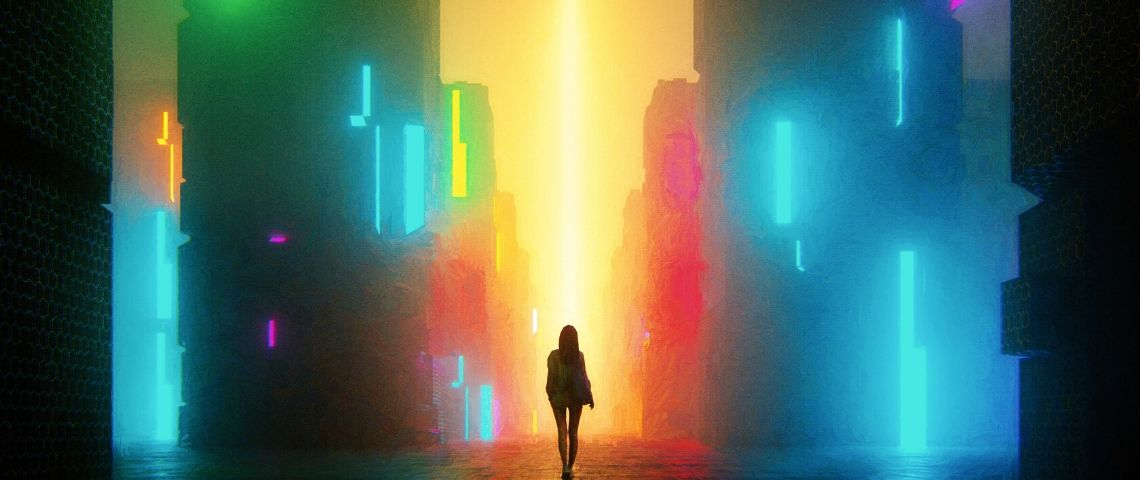 Image d'une femme de dos dans une ville futuriste