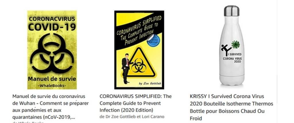 Produits vendu sur Amazon contre le coronavirus