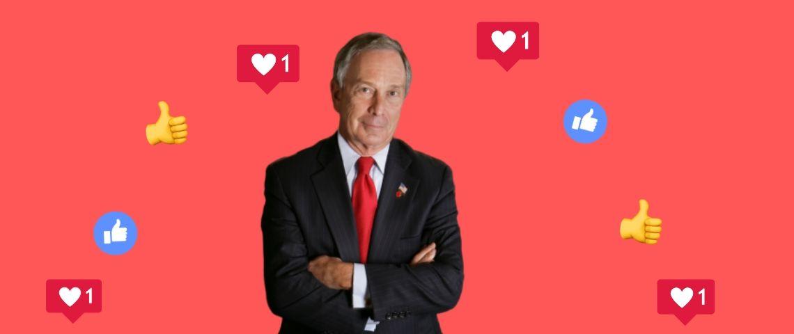 Michael Bloomberg sur un fond rouge