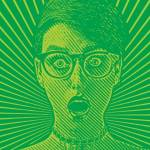 Dessin d'une femme choquée sur un fond vert