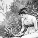 une femme assise sur un banc dans un jardin en train d'écrire sur une feuille de papier