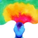 Dessin d'une tête multicolore