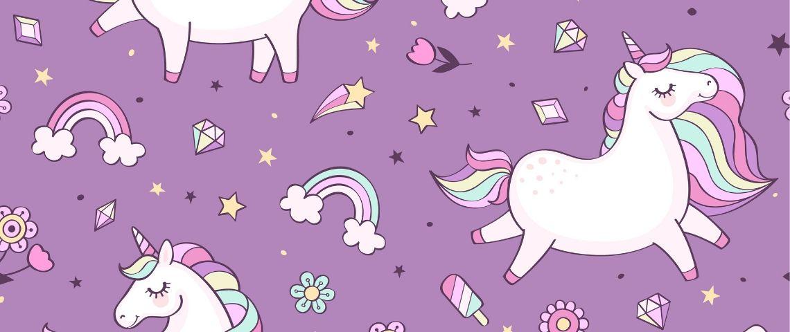 Une licorne blanche sur fond violet