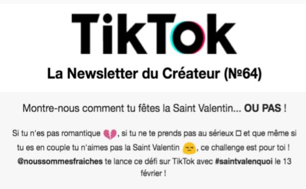 Invitation du média Fraiche à poster une petite vidéo sur TikToks
