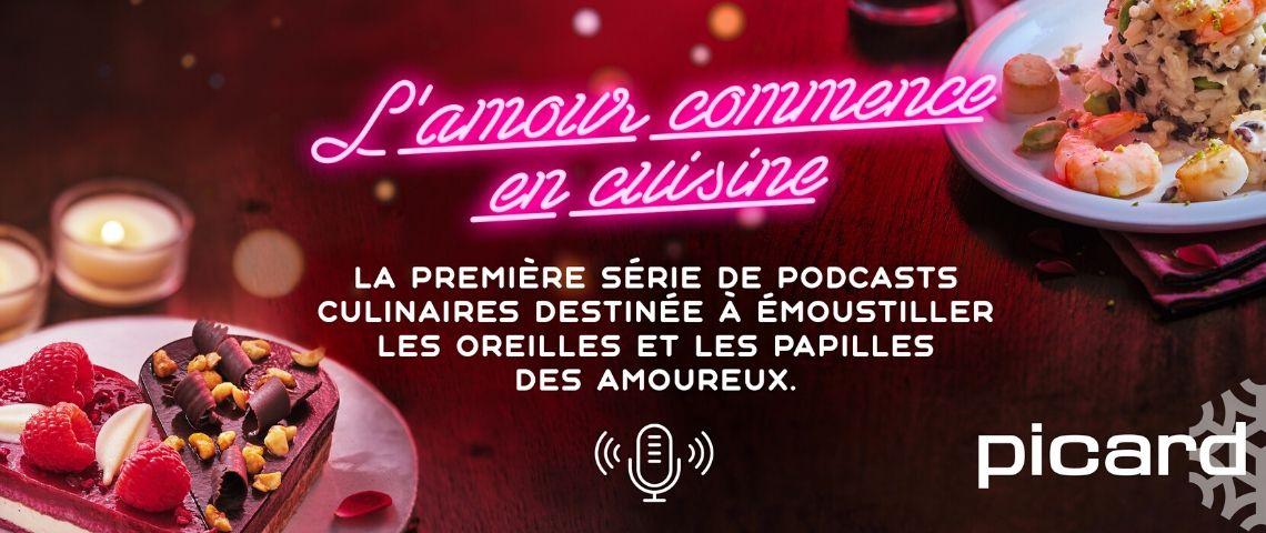 Affiche de présentation des podcasts l'amour en cuisine