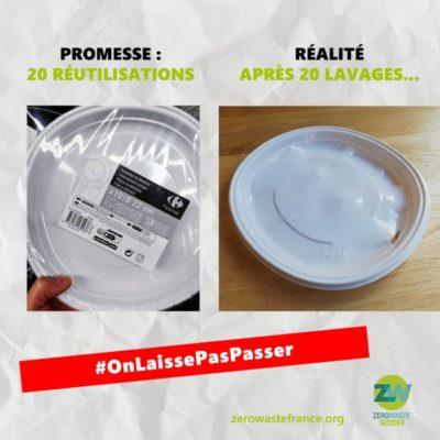Un paquet d'assiettes en plastiques soit disant réutilisables