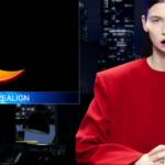une présentatrice TV bizarre habillée en rouge