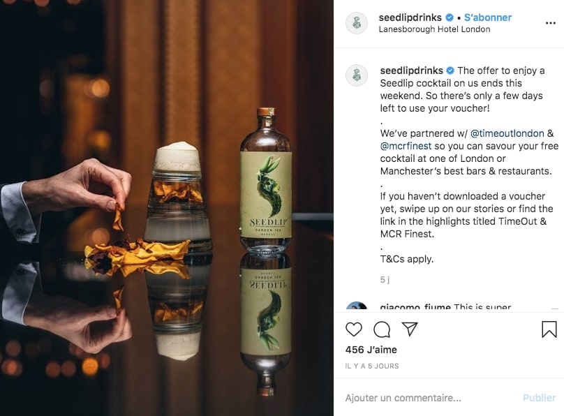 Instagram de la marque Seedlip