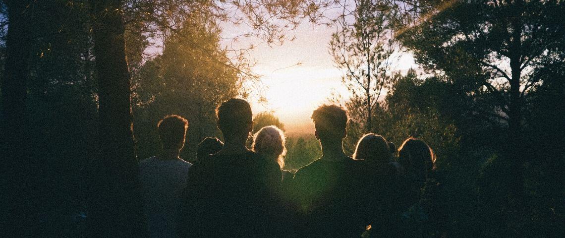Des gens regardent l'horizon dans la forêt