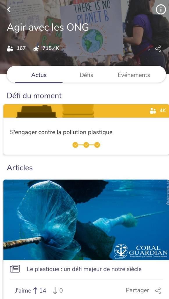 """Capture d'écran de l'application """"Agir avec les ONG"""""""