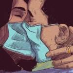 deux personnes s'embrassent avec des masques