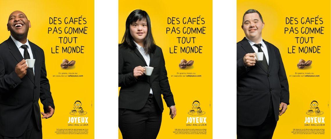 Affiche de la campagne avec des personnes handicapées, un tasse de café à la main