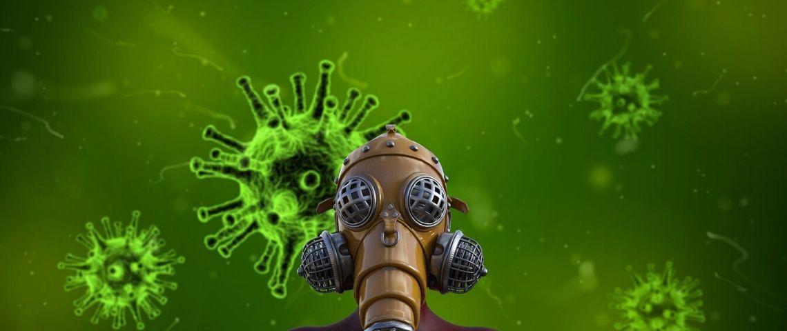 Virus et personne portant un masque