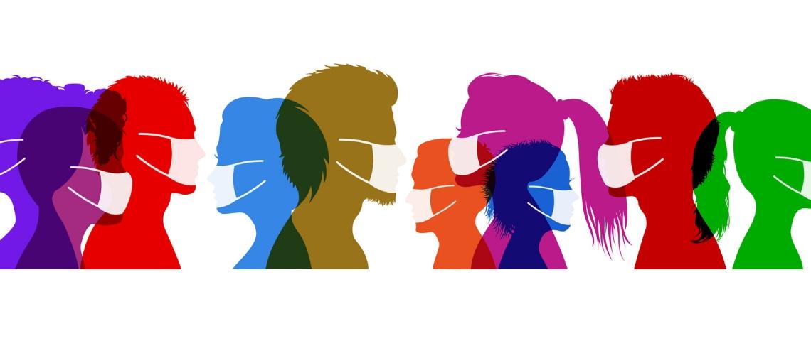 Des silhouettes de gens qui portent des masques