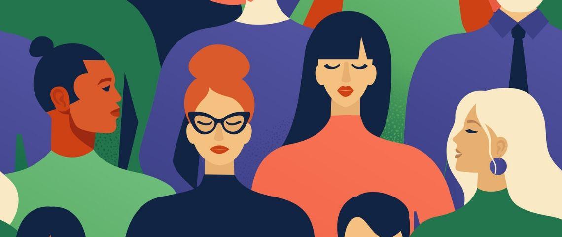 portraits de femmes en cartoon