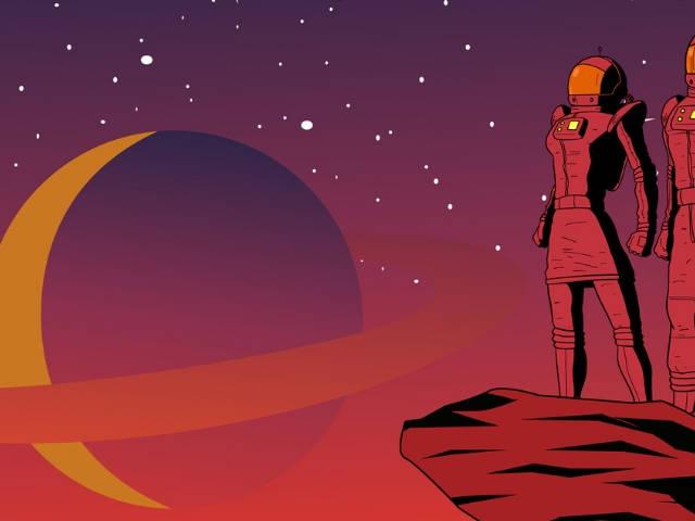 Une illustration avec deux astronautes posant devant des planètes