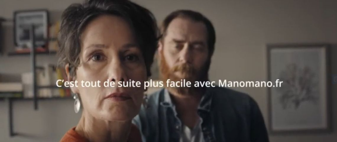 Capture du film publicaitaire de ManoMano avec un couple et le solgan : C'est tout de suite plus facile avec ManoMano