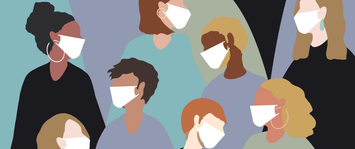 Une illustration avec plusieurs personnes portant un masque médical
