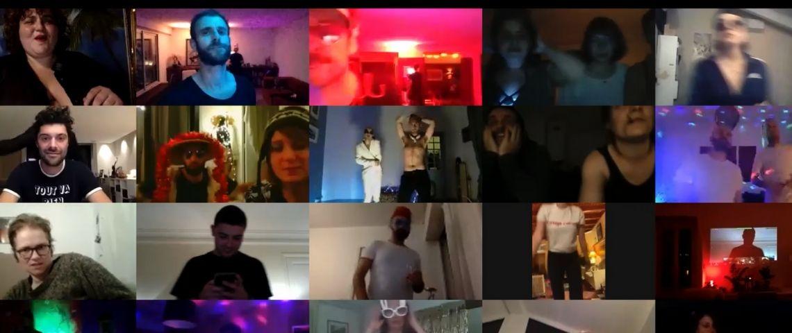 Une page Zoom avec des gens qui font la fête ensemble