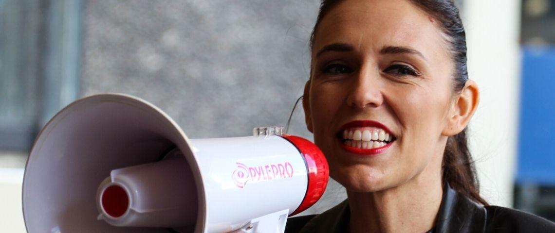 Jacinda Ardern, parti travailliste néo-zélandais à l'Université d'Auckland Quad le 1er septembre 2017.