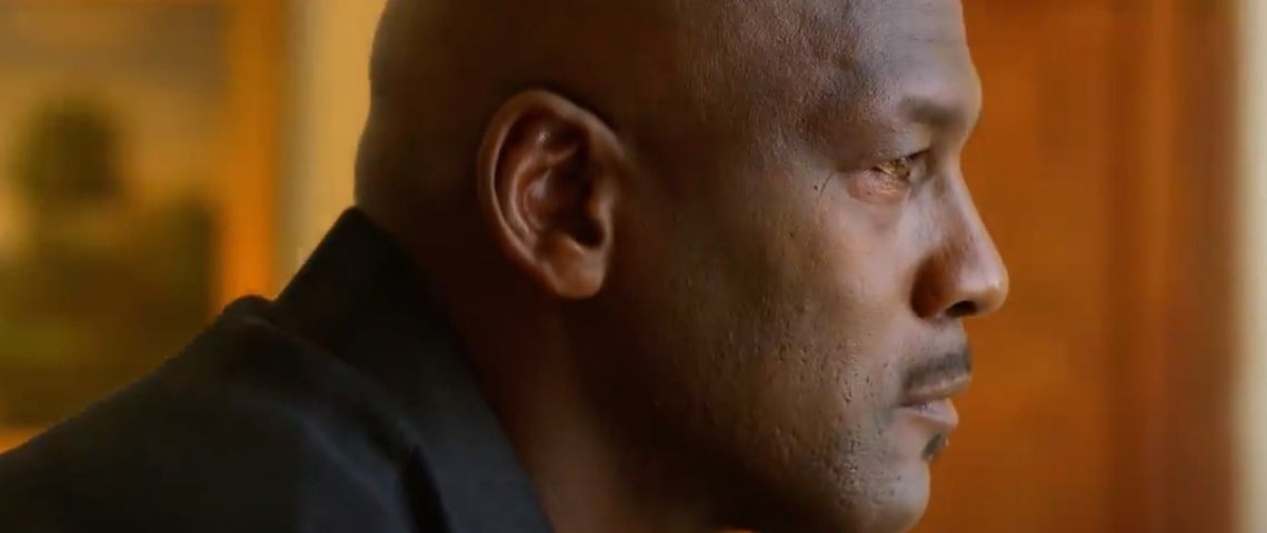 Michael Jordan de profil dans la série The Last Dance