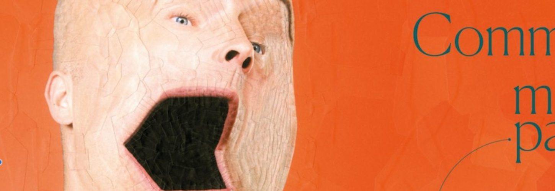 un montage photo avec un homme avec une bouche en forme d'ordinateur