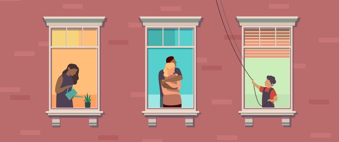 Illustration de fenêtres de personnes confinées
