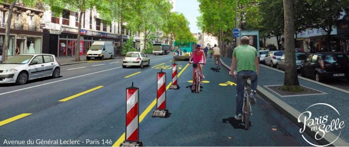 L'avenue du général Leclerc dans le 14ème arrondissement, transformé en piste cyclable