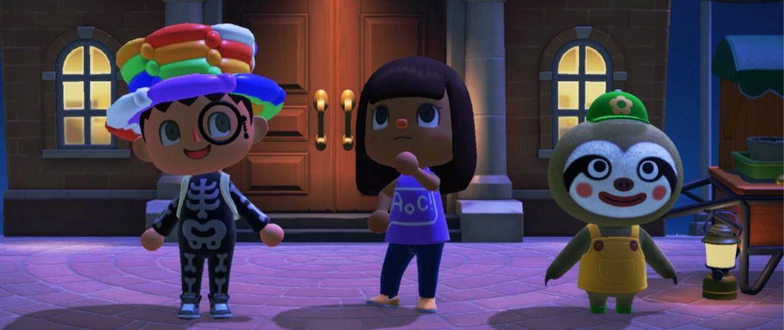 Trois avatars d'Animal Crossing