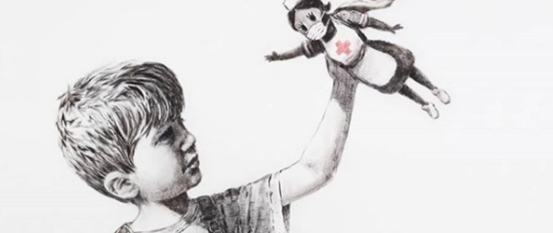 Un dessin de Banksy représentant un petit garçon en train de jouer avec une infirmière-superhéroïne