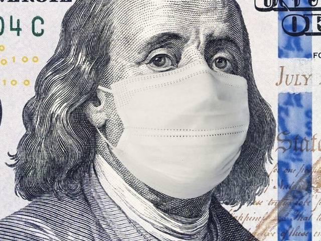 billet dollar américain avec un masque