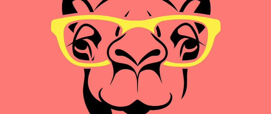 dessin d'un drôle de chameau porte des lunettes