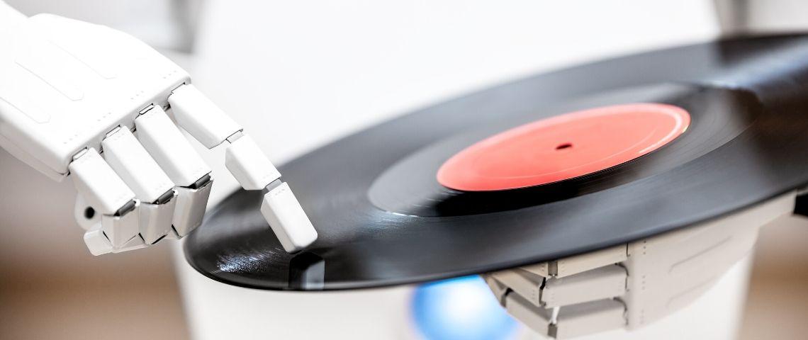 Un robot qui touche un vinyl