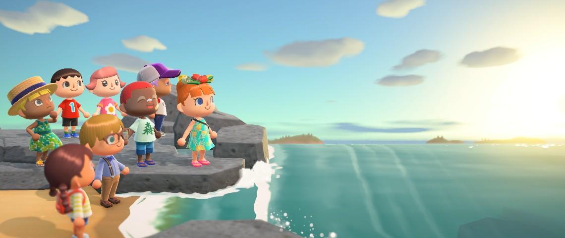 Personnages d'Animal Crossing regroupés sur une plage