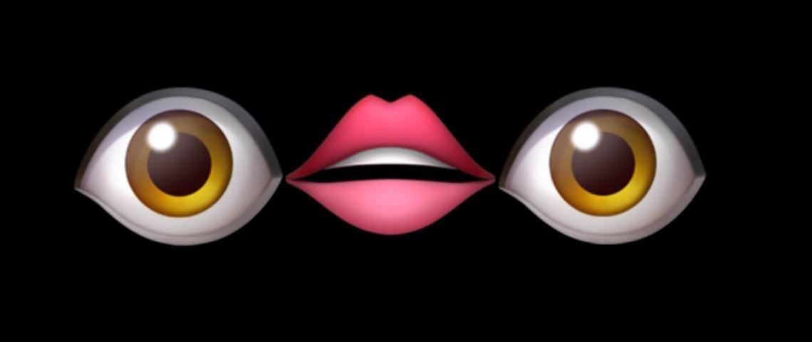 Emoji oeil, emoji bouche, emoji oeil