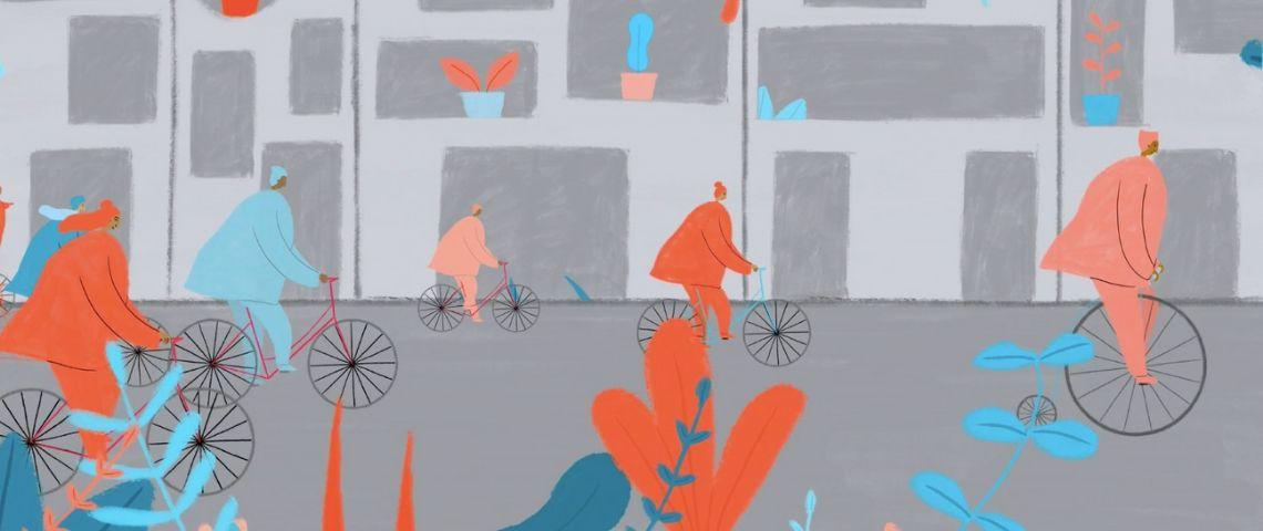 personnes à vélo en ville