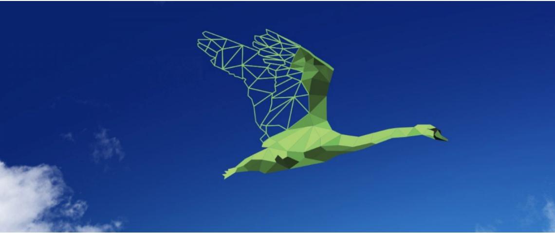 Un cygne vert volant dans le ciel