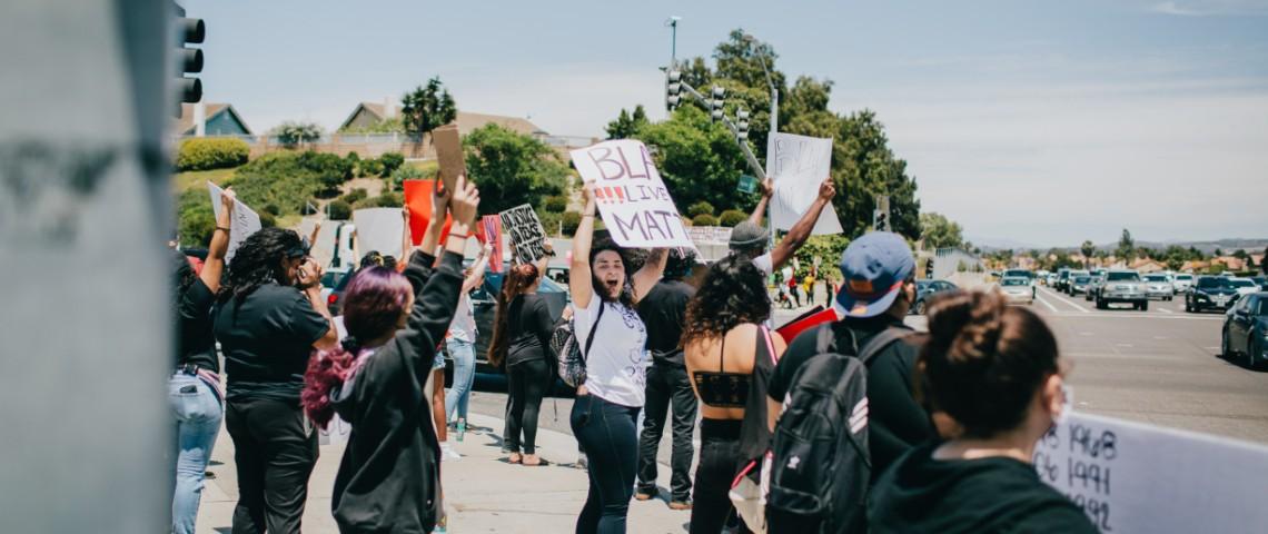 Manifestation Black Lives Matter en Californie aux États-Unis