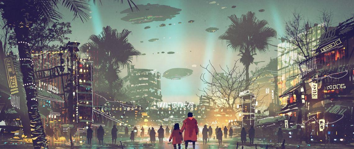 une ville futuriste avec des lumières
